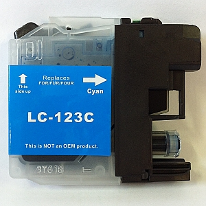 Brother LC-123C cyaan met chip, compatible